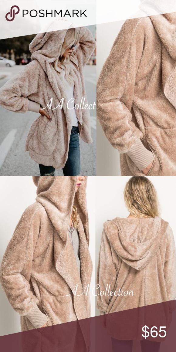 Faux Fur Sherpa Hoodie Plush Jacket Coat ONE SIZE