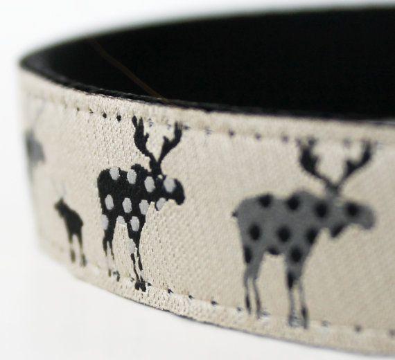 Black Moose Dog Collar / Adjustable / Animal Print Dog Collar / Cabin Style collar on Etsy, $17.50