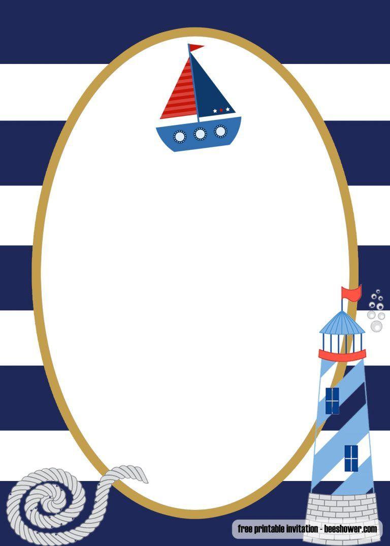 Free Printable Sailor Baby Shower Invitations Templates Sailor Baby Showers Baby Shower Invitation Templates Printable Birthday Invitations