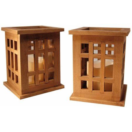 LumaBase Wooden Lanterns with LED Candles, Natural Brown, 2-Count