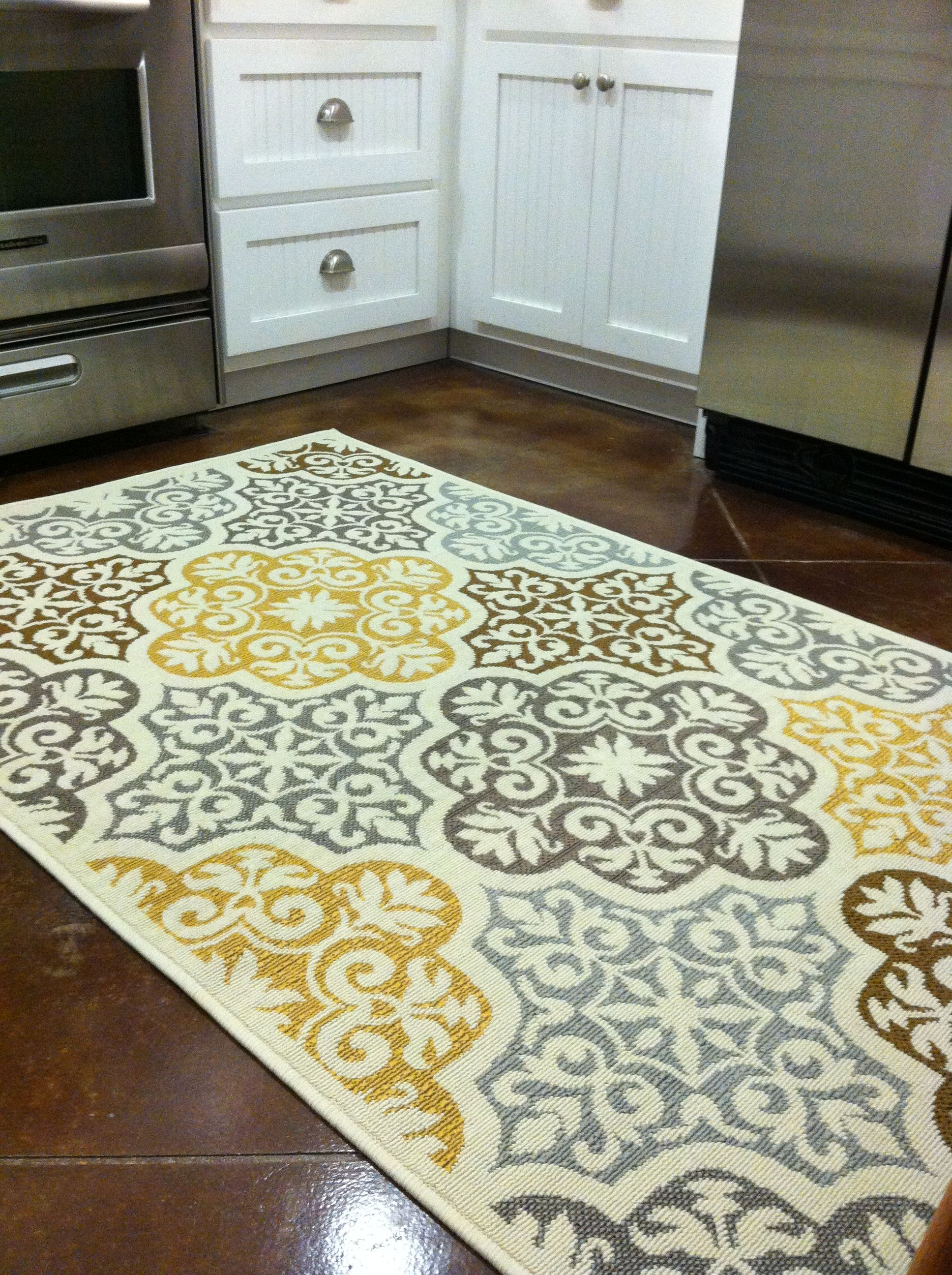 Kitchen rug purchased from Overstock Blue grey yellow