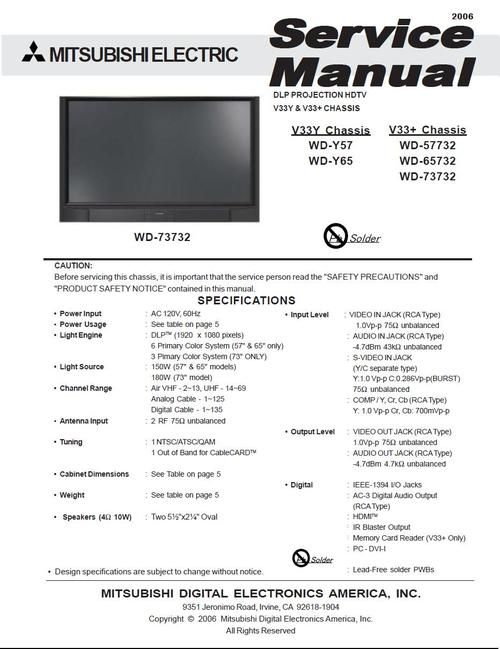 Mitsubishi wd73638 73 3d ready home cinema dlp tv 1080p.