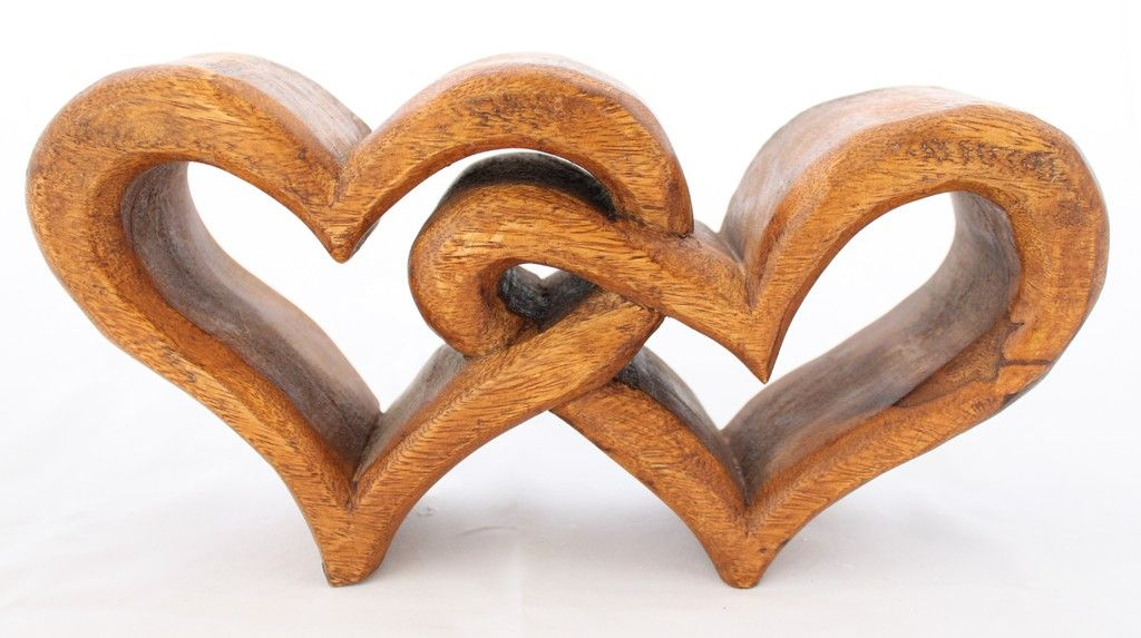 chunky wooden hearts entwined lanes furniture giftware wood carving pinterest heart