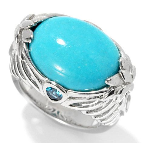 Gem Insider Sterling Silver 16 x 12mm Sleeping Beauty Turquoise & Blue Topaz Ring on sale at ShopHQ.com