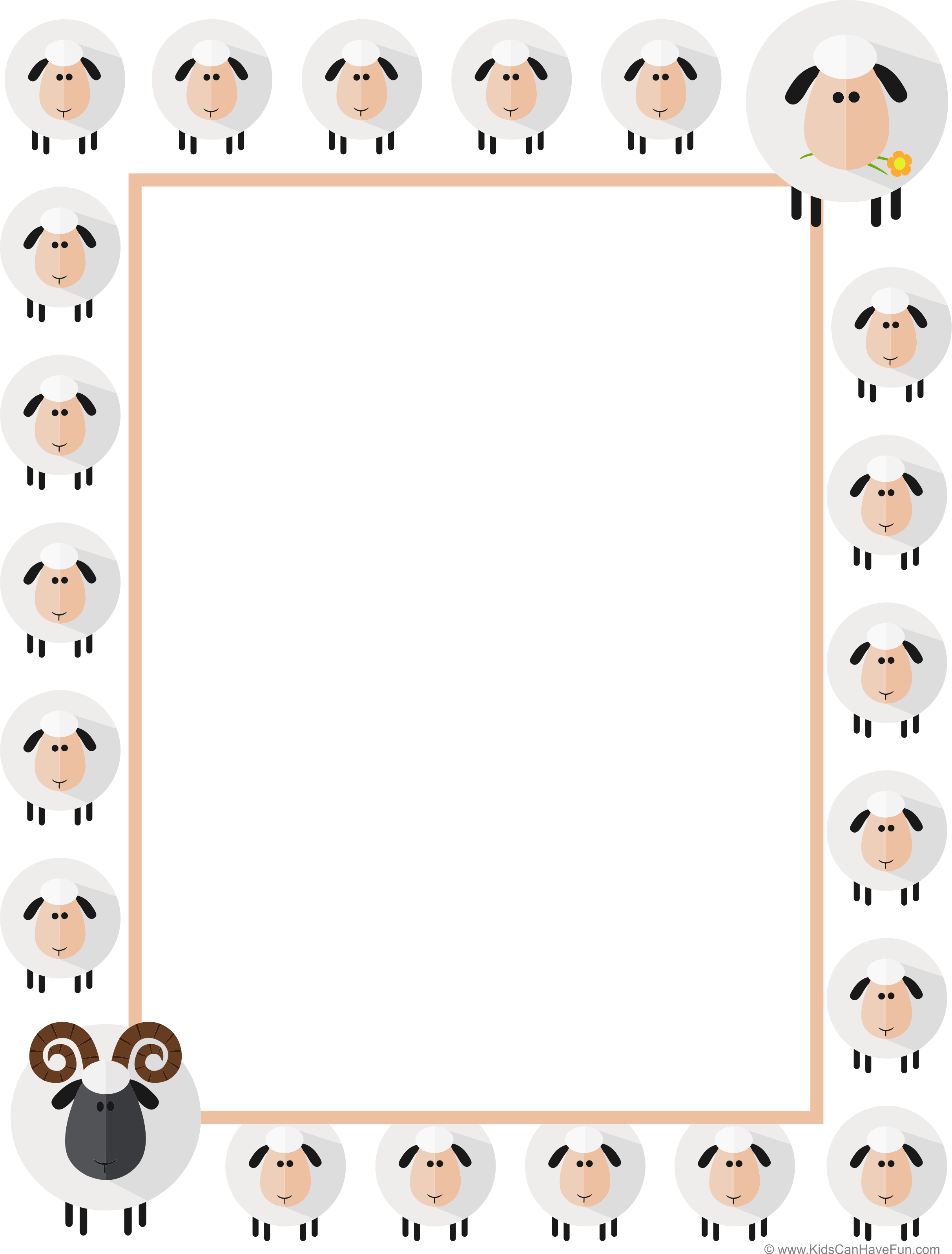 Easter Sheep Writing Paper Dscanhavefun