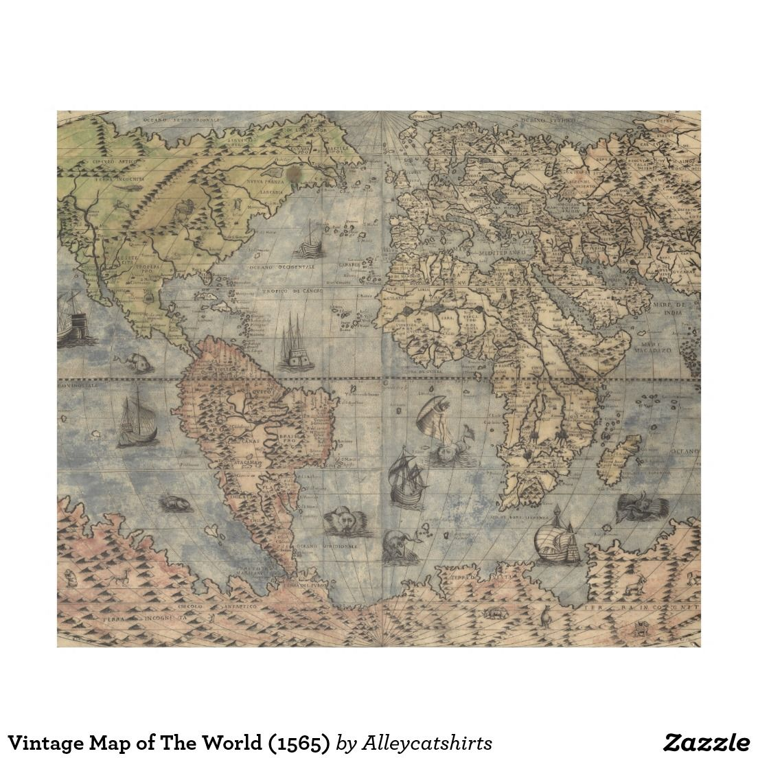 Vintage Map of The World 1565 Fleece Blanket