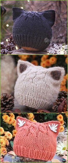 Kitty Cat Hat Knitting Patterns Size Baby to Adult Free #knittingpatterns