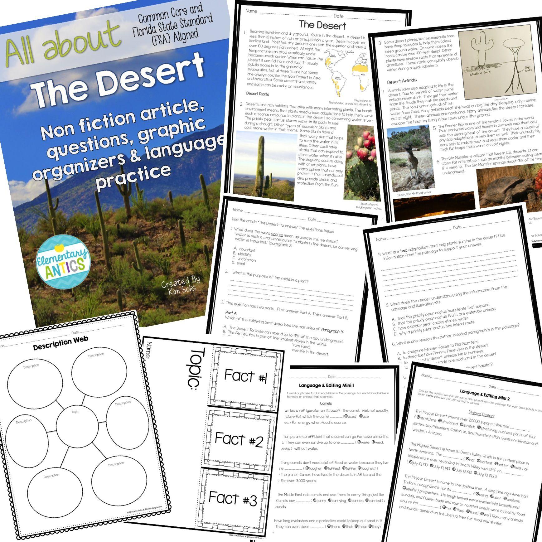 The Desert Fsa Reading And Language Editing Practice Language Editing Reading Practice Editing Practice Fsa reading practice grade answer