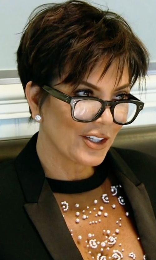 935c73c4d729 Kris Jenner s Black Oliver Peoples Afton Shiny Eyeglasses from ...