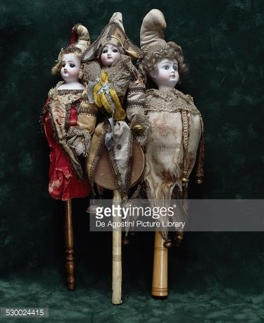 Stock Photo : Marotte dolls, bisque head, ca 1880, France, 19th century