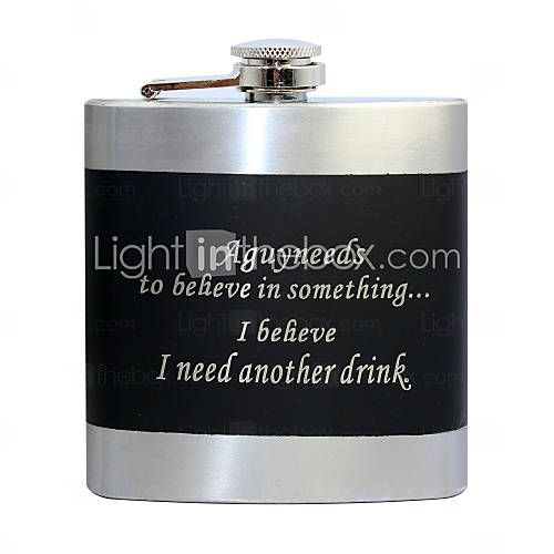 Personalized Black Stainless Steel 6-oz Flask - USD $ 6.59