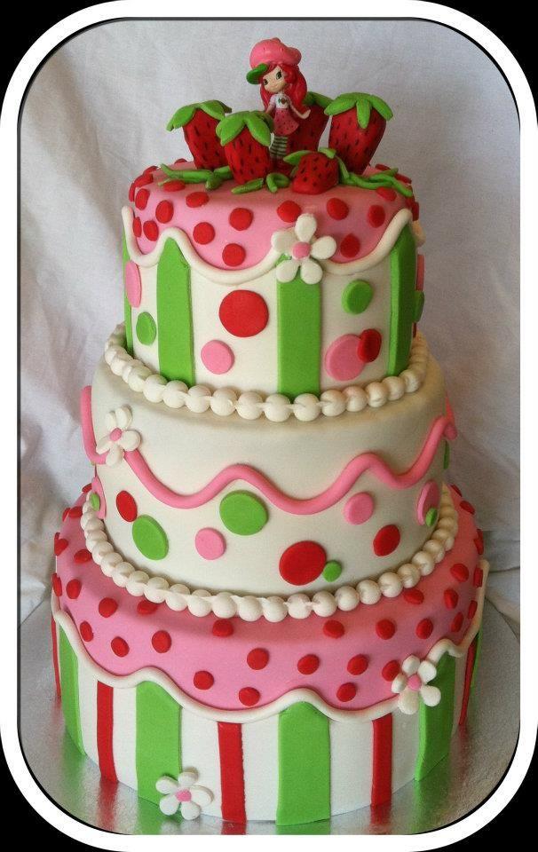 Excellent Strawberry Shortcake Fondant Birthday Cake Strawberry Shortcake Personalised Birthday Cards Veneteletsinfo