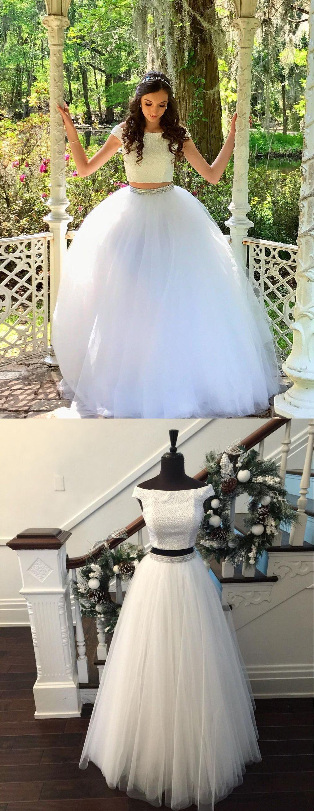 Two piece prom dresses offtheshoulder aline floorlength long
