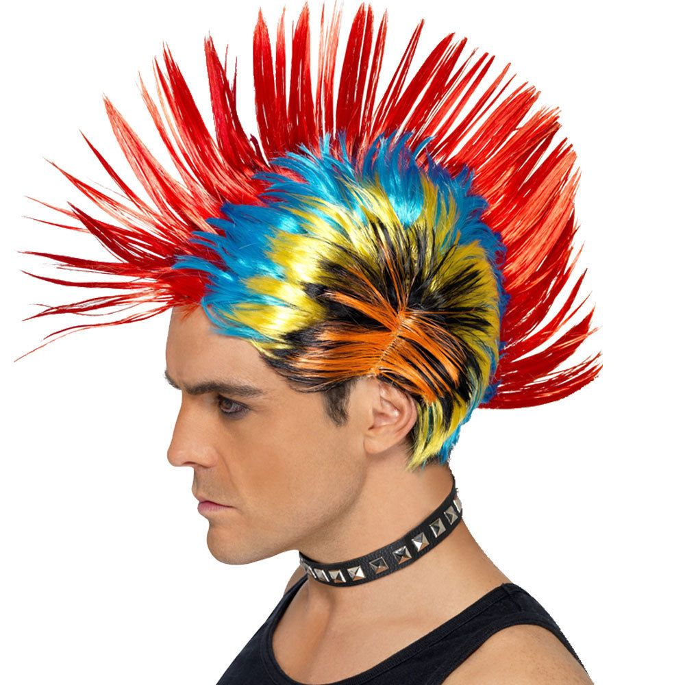 Rainbow s punk mohawk wig gay pride multicolour hair fancy dress