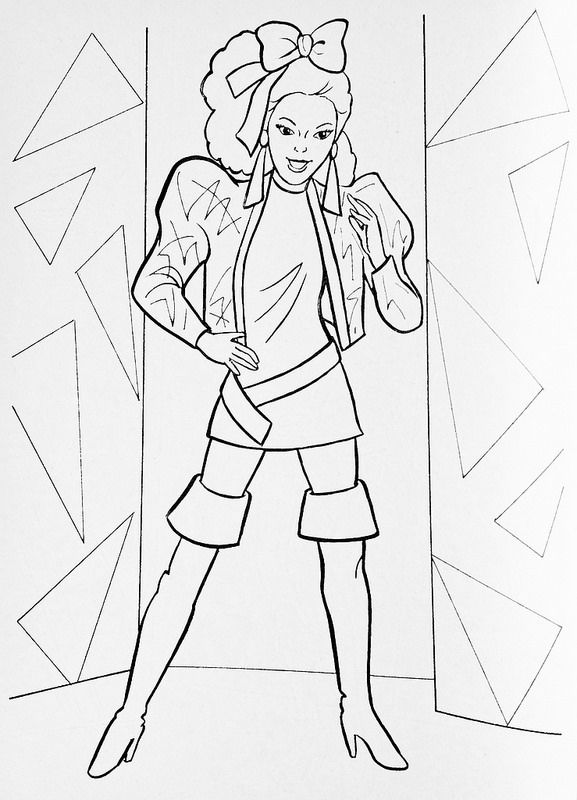1986 Barbie And The Rockers Dana Fashion Illustration Coloring Pages Yoga Coloring Book Color