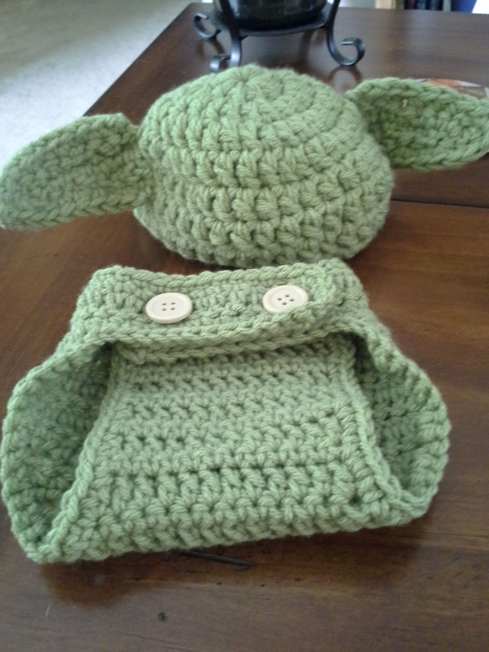 Baby Yoda Hat With Matching Diaper Cover For My Little Nephew On The
