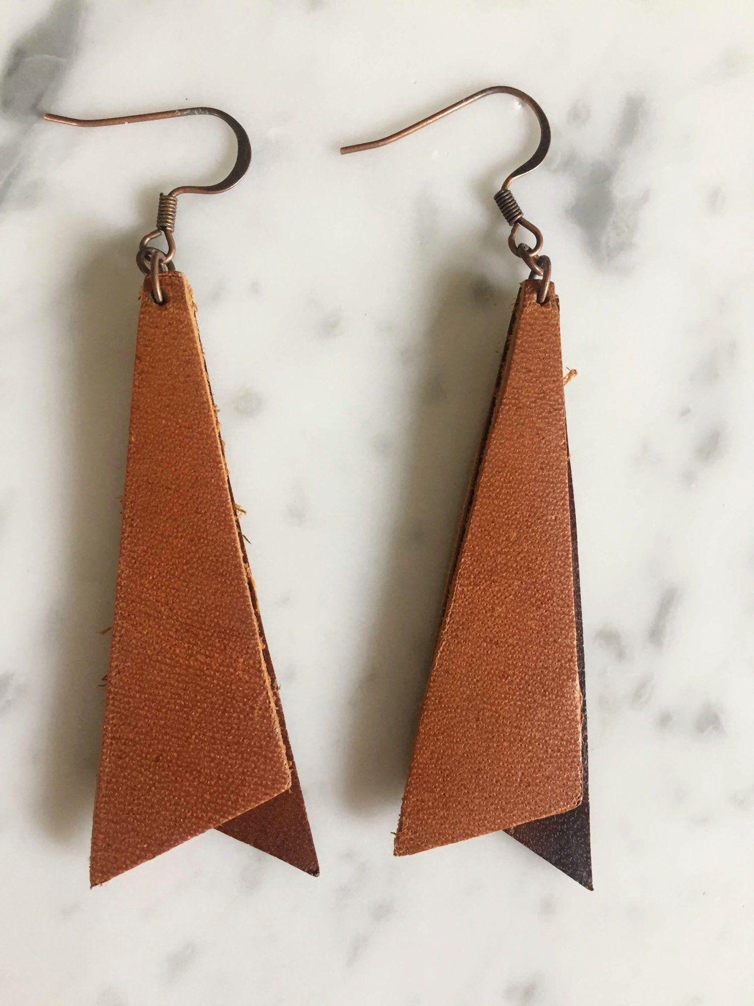 Leather Triangle Earrings  Leather Bar Earrings  Brass Earrings  Lightweight Earrings  Leather Geometric Earrings
