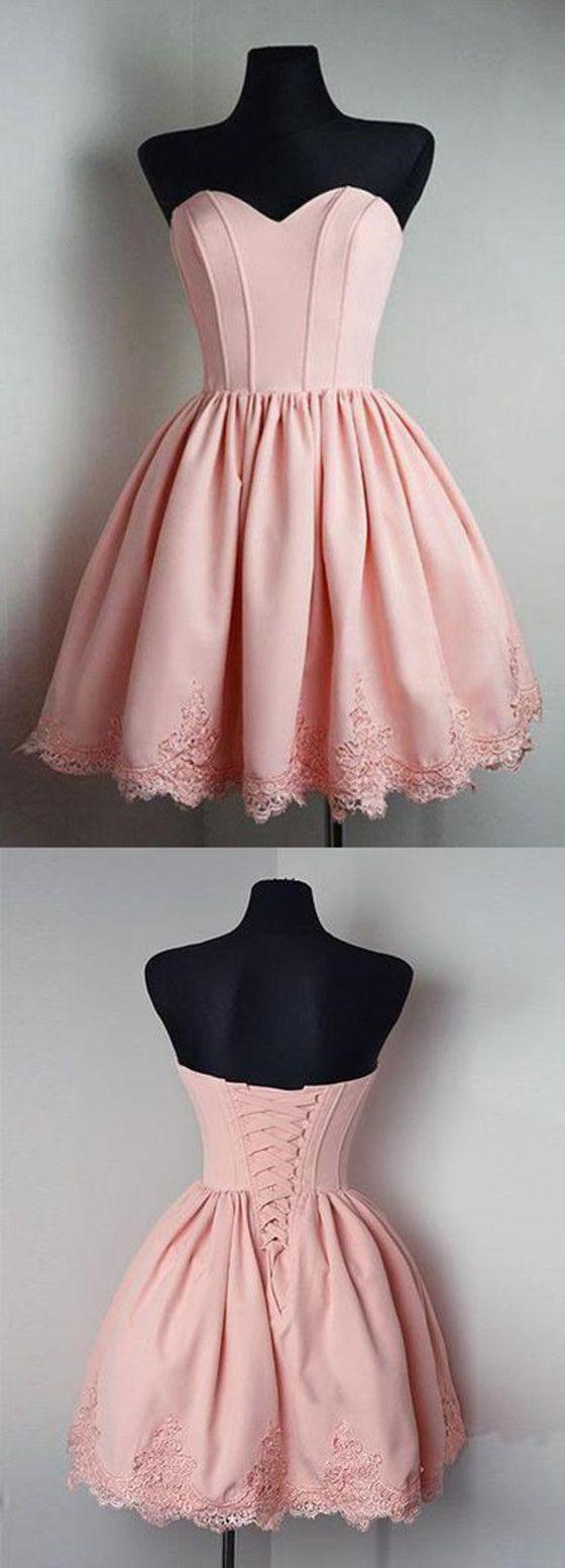 Elegant cute sweetheart pink appliques party dresses short