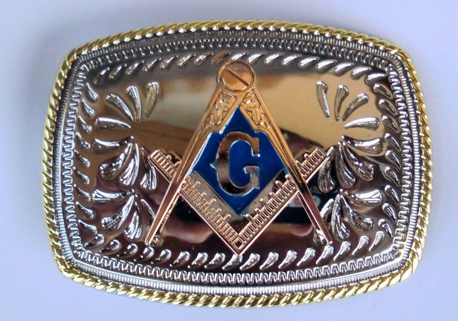 Mason Belt Buckle Masonic Western Cowboy SILVER BLUE Skull HIGH QUALITY GUARANTE
