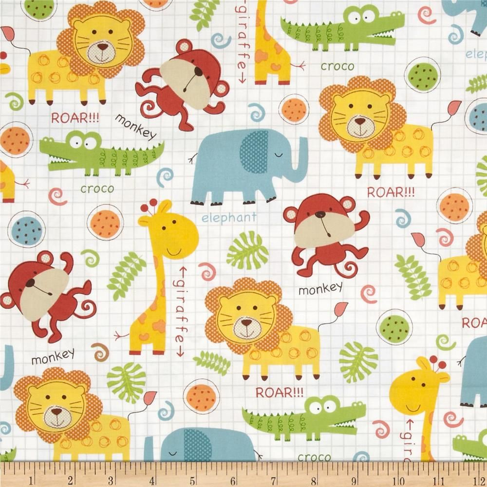 Timeless Treasures Peek A Zoo Baby Jungle Animals Multi