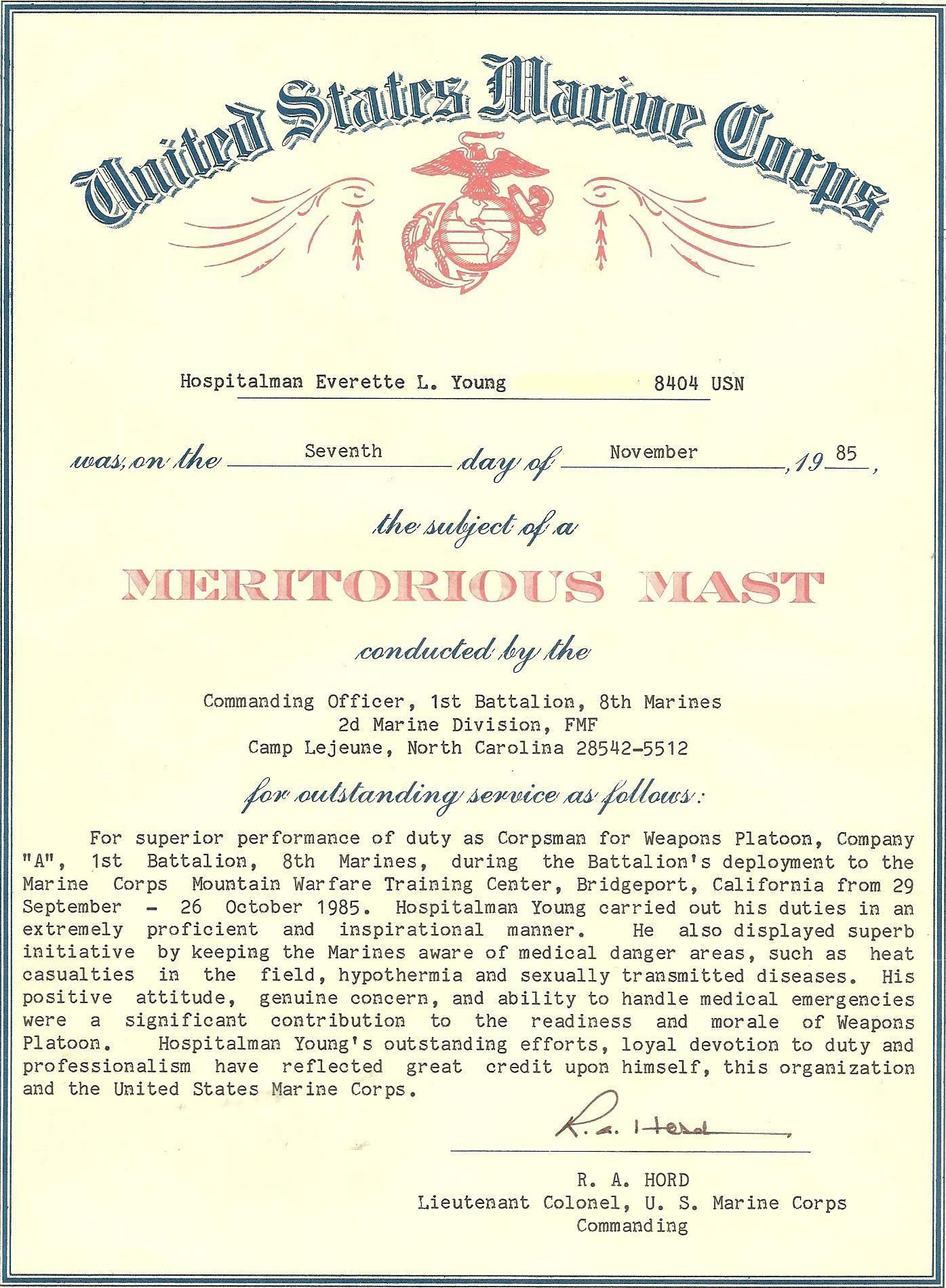 My Meritorious Captains Mast | The U.S. Navy | Pinterest