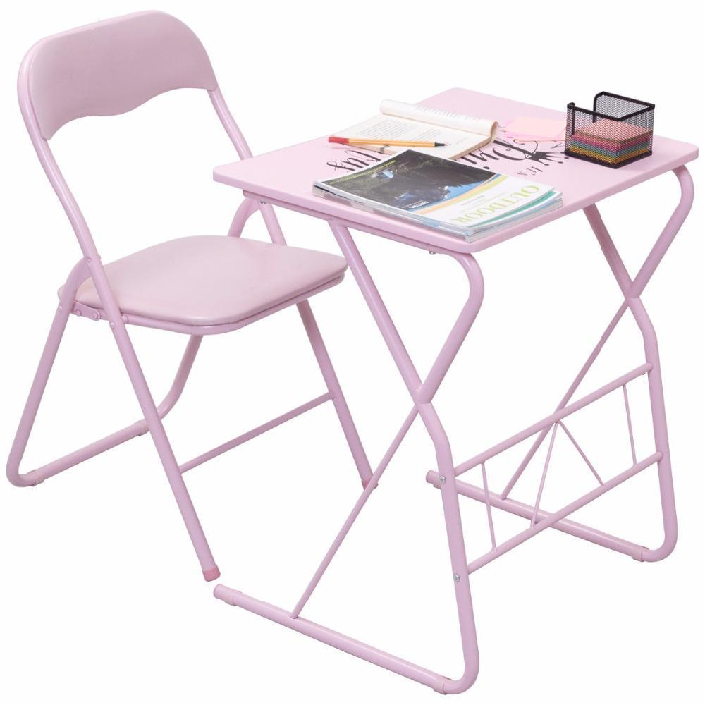 Kids Folding Table Chair Set Modern Pink Wood Study Writing Desk