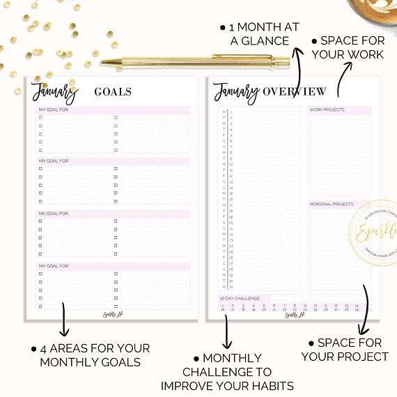 2018 Printable Monthly Planner,A5 size,2018 Printable calendar,2018