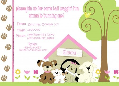 puppy dog theme birthday party invitations personalized printable - birthday invitation template printable
