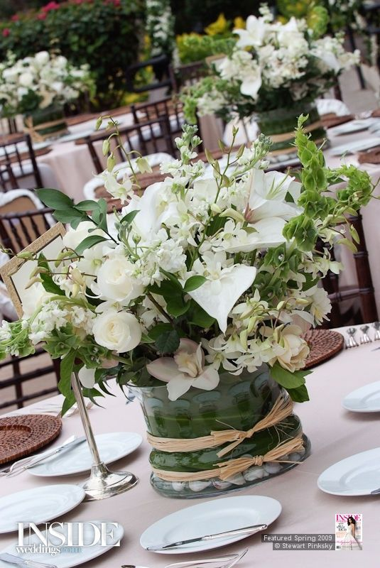 Tablescape floral centerpiece white green