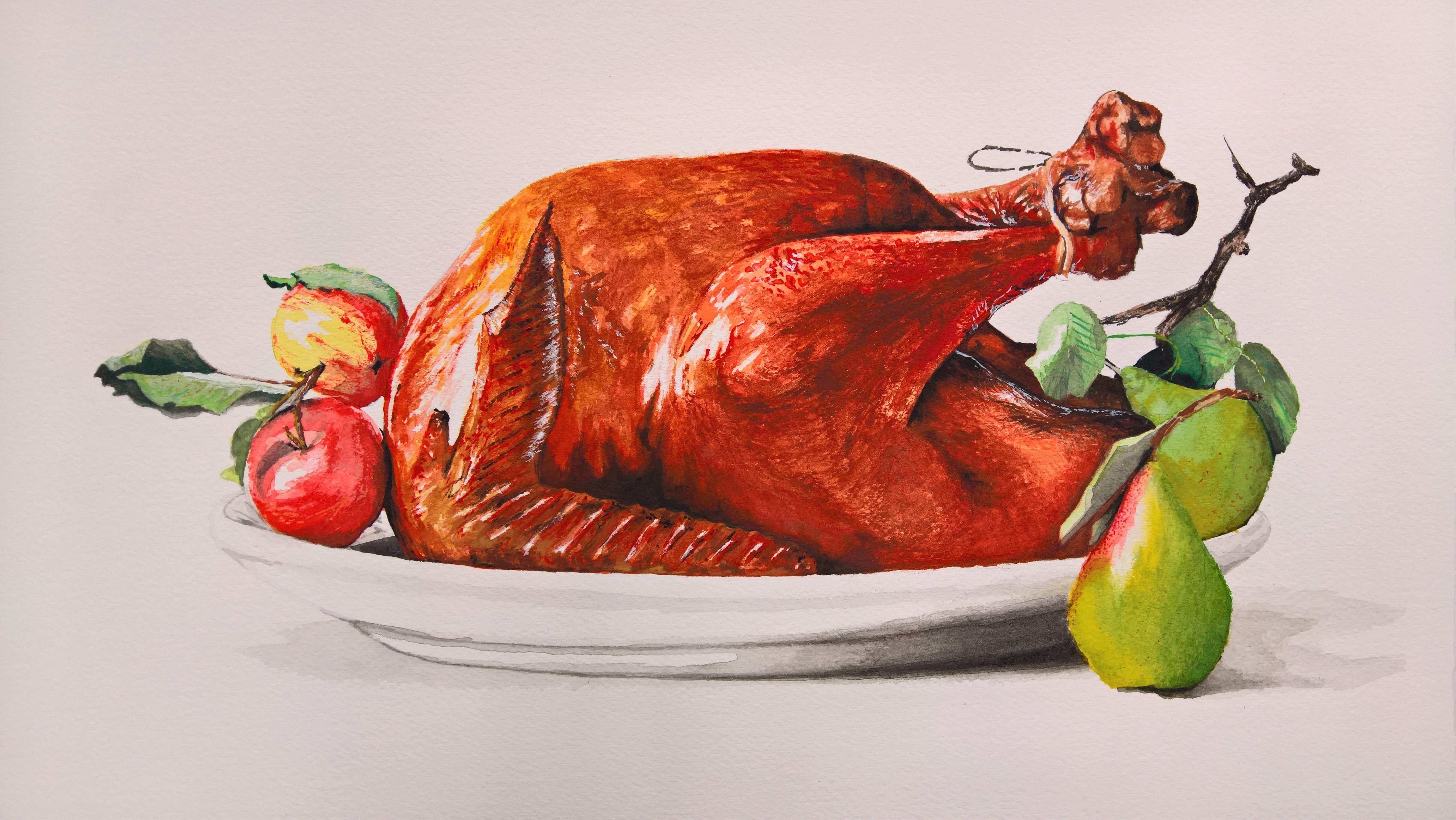 Turkey Dinner, watercolour for Principles of Painting, 2016