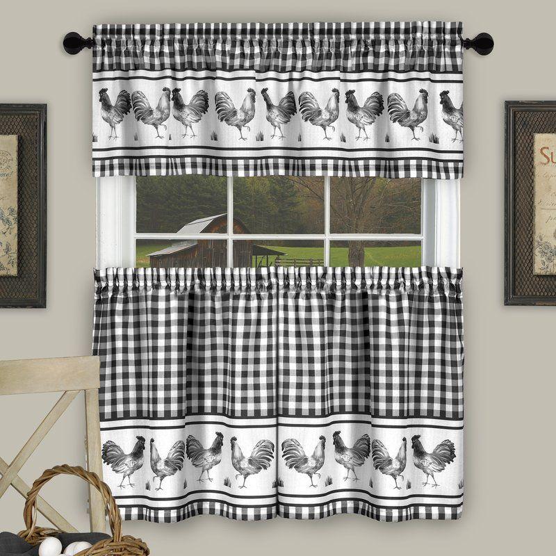 August Grove Rolon Hernandez Rooster Check Kitchen Curtain Reviews Wayfair Kitchen Curtains Kitchen Curtain Sets Curtains