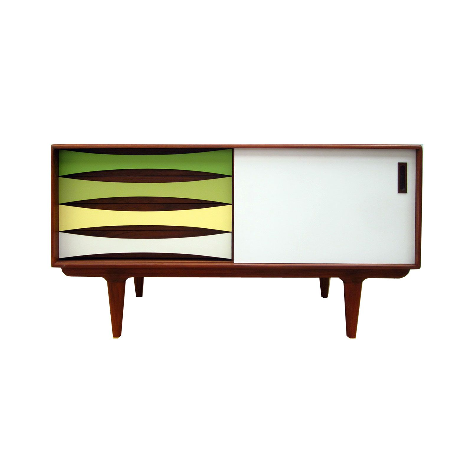 Cool Colors Teak Media Console   Unique Modern Furniture