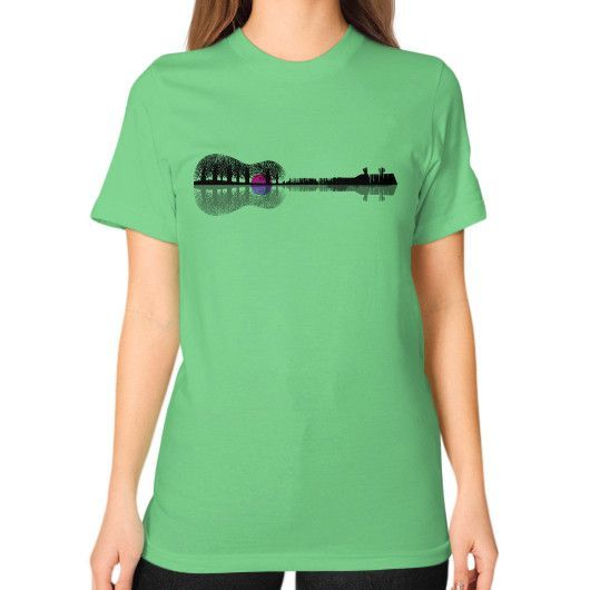 Music instrument tree silhouette ukulele guitar shape Unisex T-Shirt (on woman)