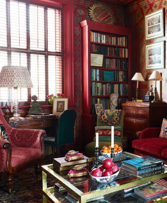 Classic Study Room Design: Alidad's London Apartment Red Library / Red Study Room In