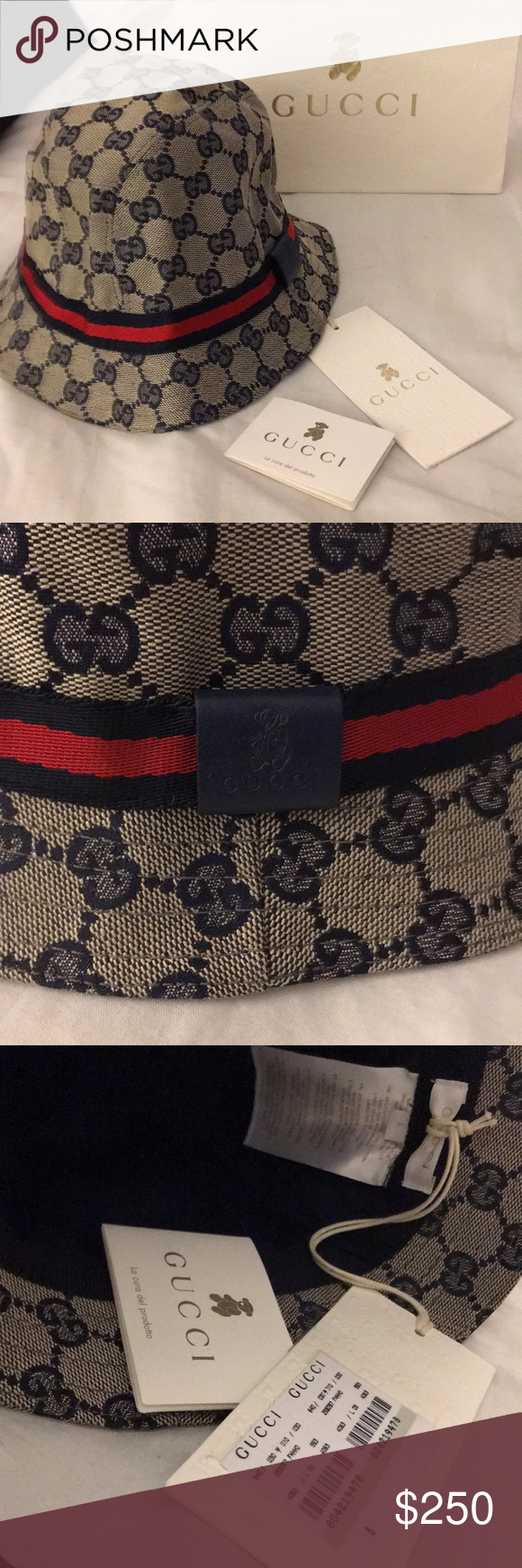 b34cb921224 Kids Gucci Fedora Hat in Navy GG Supreme 100% Authentic Kids Gucci Fedora  Cap Brand New with tags  never worn Navy Blue color Gucci Accessories Hats