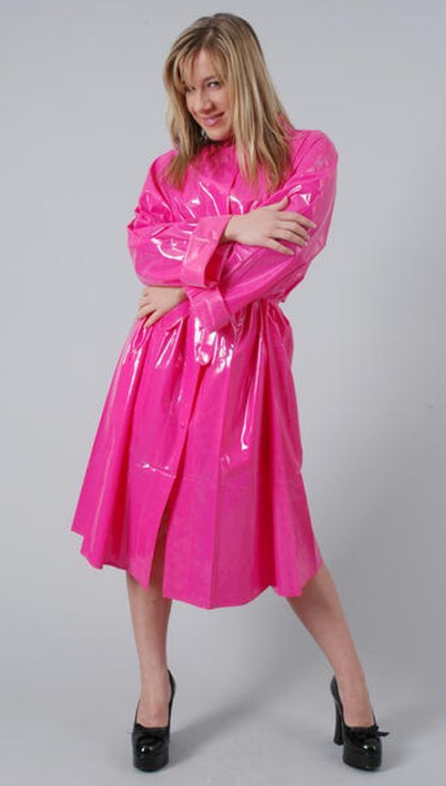 Lovely Pink Plastic Mac Rain Fashion, Pink Plastic Trench Coat