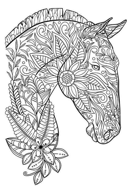 Pingl par mel sur dessin coloring pages horse coloring pages et adult coloring pages - Mandala de chevaux ...