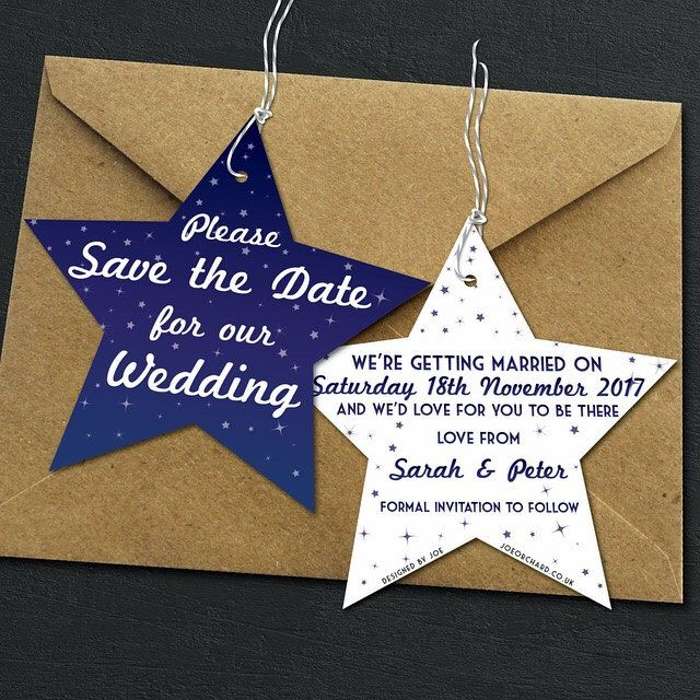 save the date star shaped hangers starry night blue purple wedding