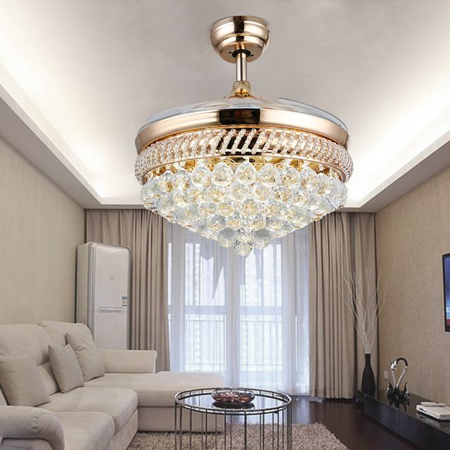 Crystal Chandelier Fan With Lights Steel Fans Folding Wireless Remote Luxury Quiet Fans 110v 220v Con Imagenes Ventilador Con Luces Candil Ventilador #wireless #ceiling #light #for #living #room