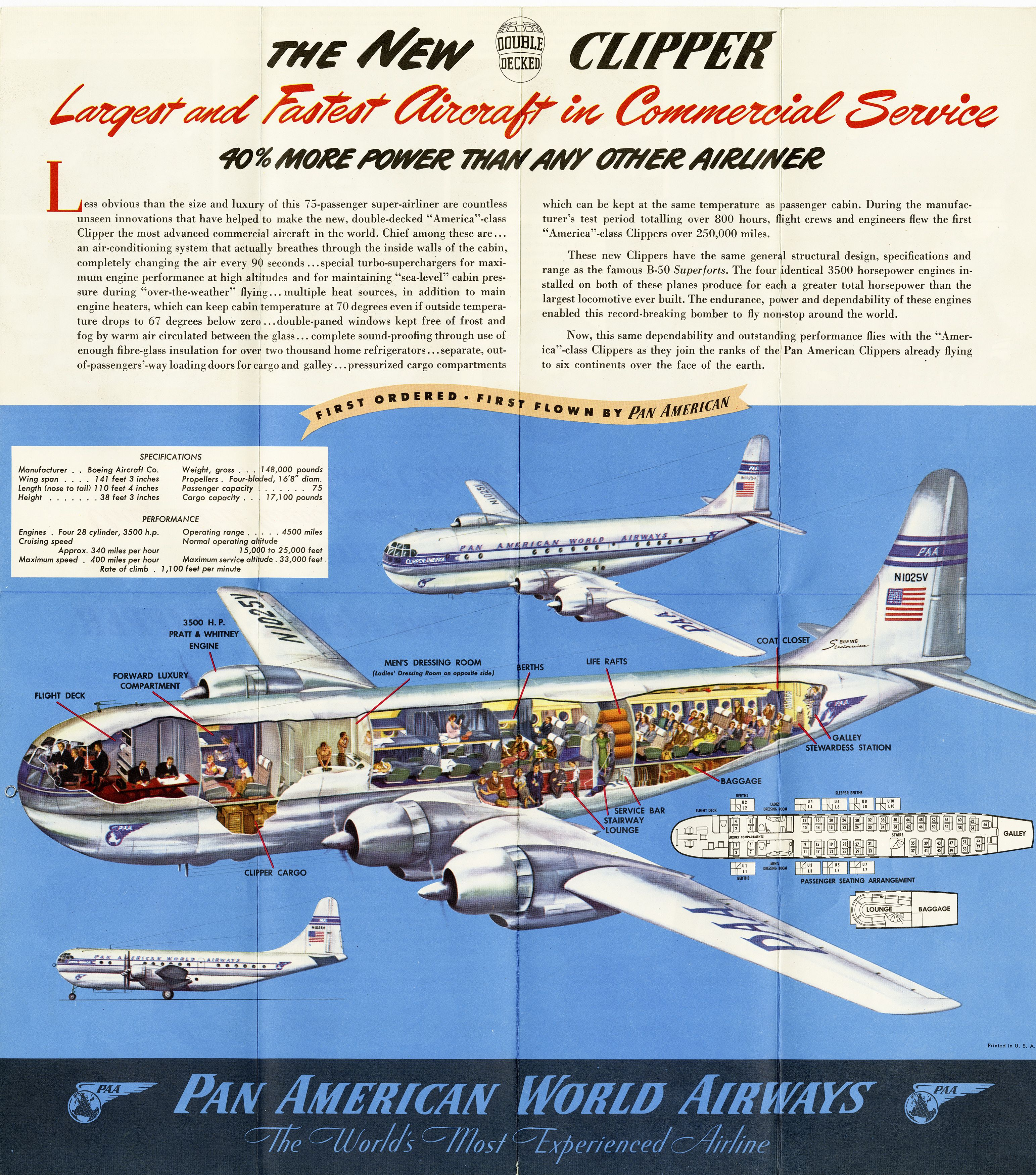 Cutaway of a pan am boeing 377 stratocruiser image from chris sloan - Boeing 377 Stratocruiser Cutaway Drawing