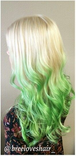 Green And Blonde Ombre Dyed Hair Black And Green Hair Green Hair Ombre Hair