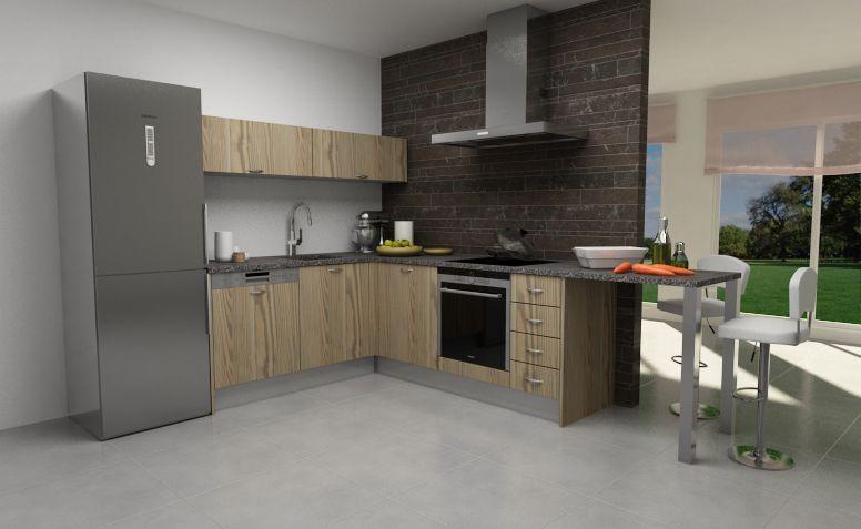 Modelo de cocina con puerta tah n laminado montana for Modelos para cocina