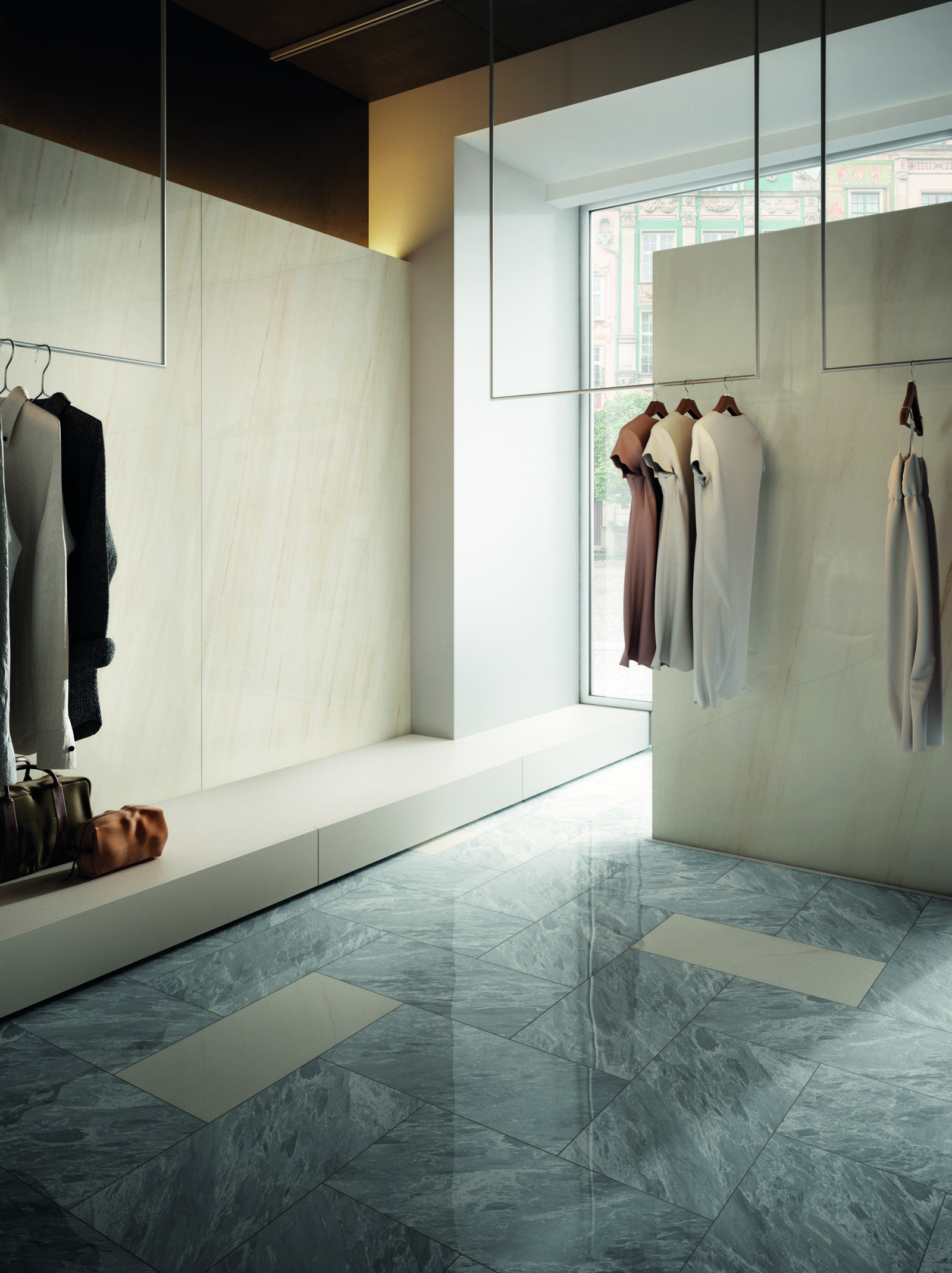 Caesar chooses Grigio Boreale from Anima Select porcelain tile series to enhance with its elegant color shades this Boutique #marblelook #tile #tiles #piastrelle #effettomarmo #marmo #pavimento #floor #boutique #fashon