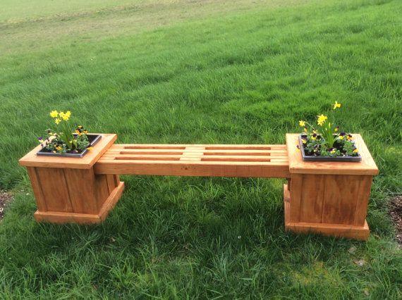 Garden Planter Bench By Creeksideranchoregon On Etsy Backyard Fireplace Planter Bench Outdoor Planter Boxes