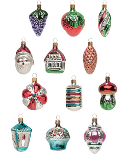 Old Fashioned Glass Ornament Collection Set Of 12 With Images Old Fashioned Christmas Decorations Glass Christmas Ornaments Christmas Ornaments