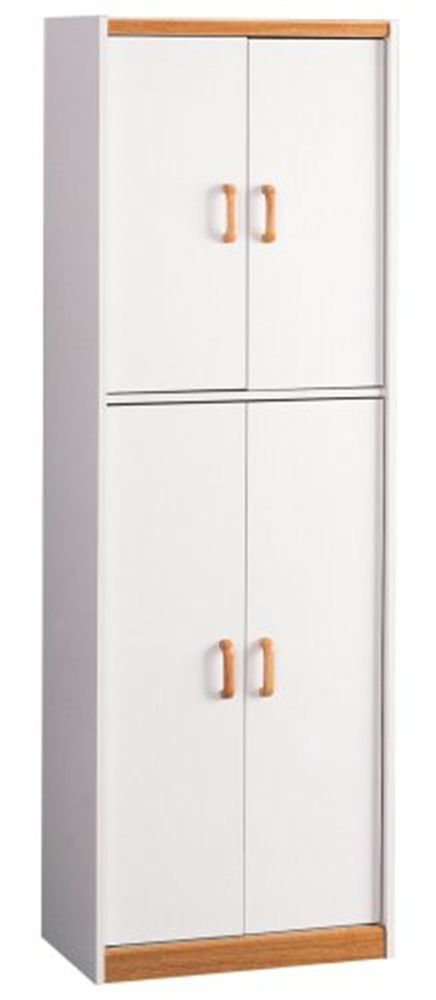 Tall White Storage Cabinet Kitchen Pantry Cupboard Wood Food