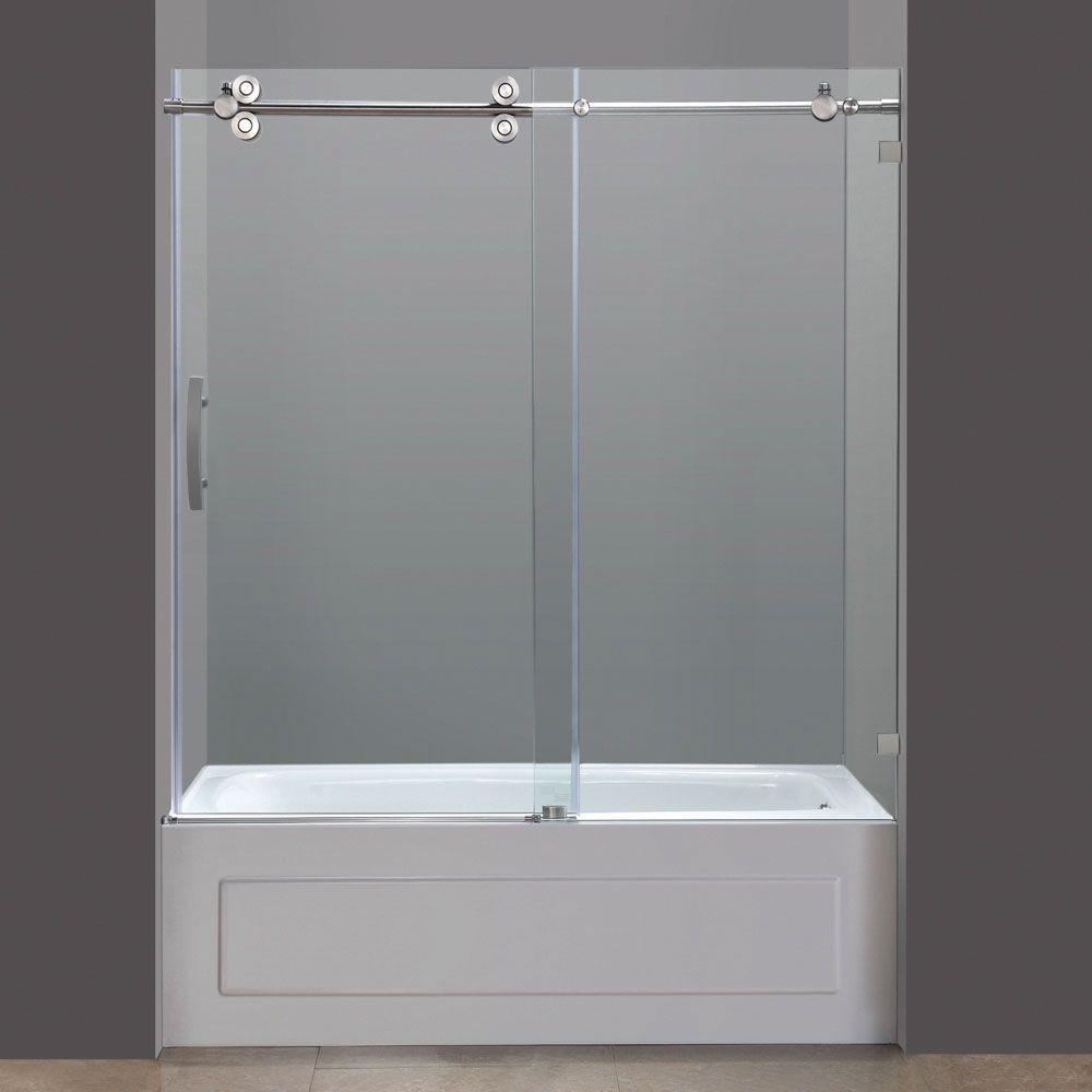 59 In Glass Opening Sliding Tub Door For Skirted Tub Tub Shower Doors Shower Doors Tub With Glass Door