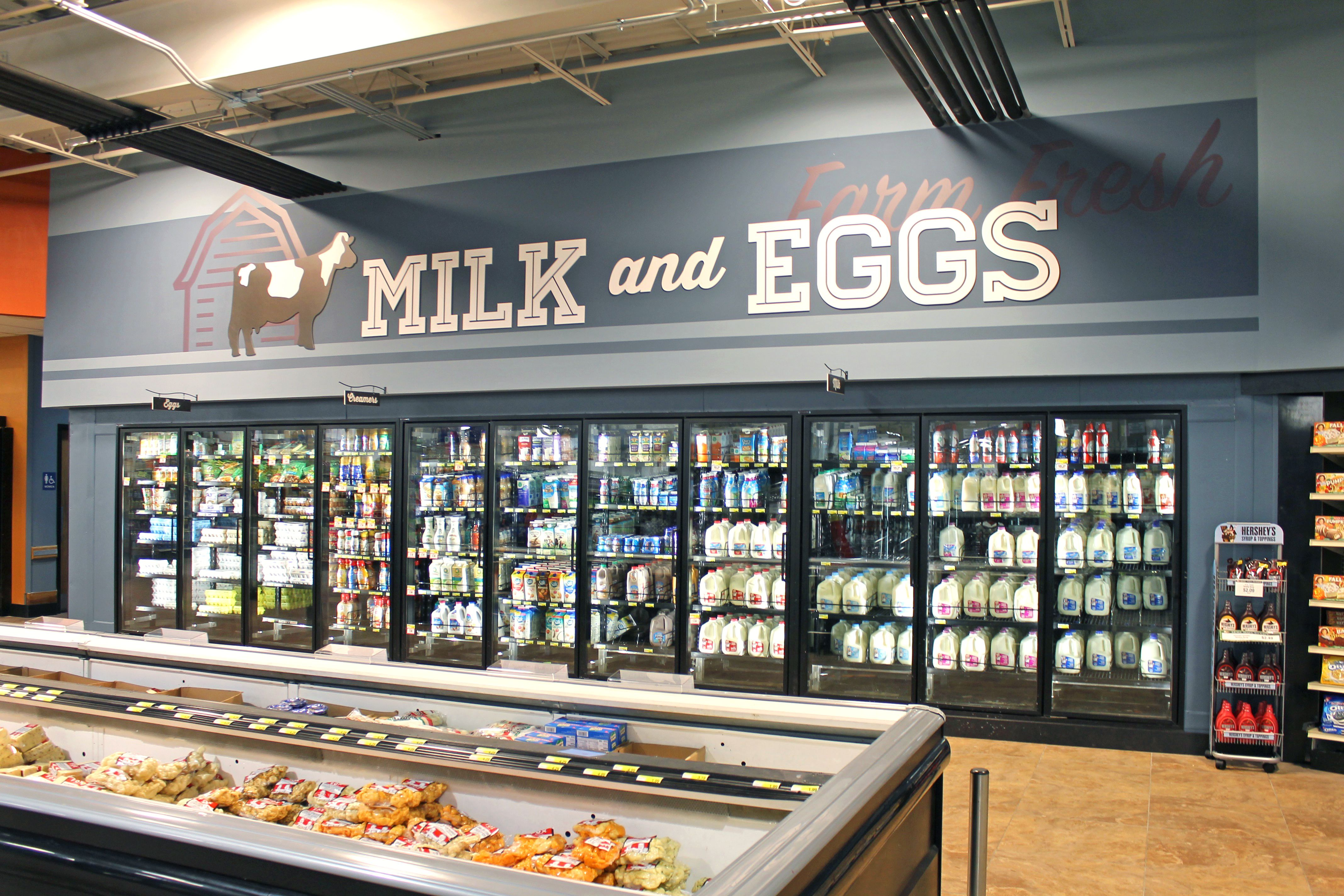Milk And Eggs Cooler Grocery Store Decor Grocery Store Design