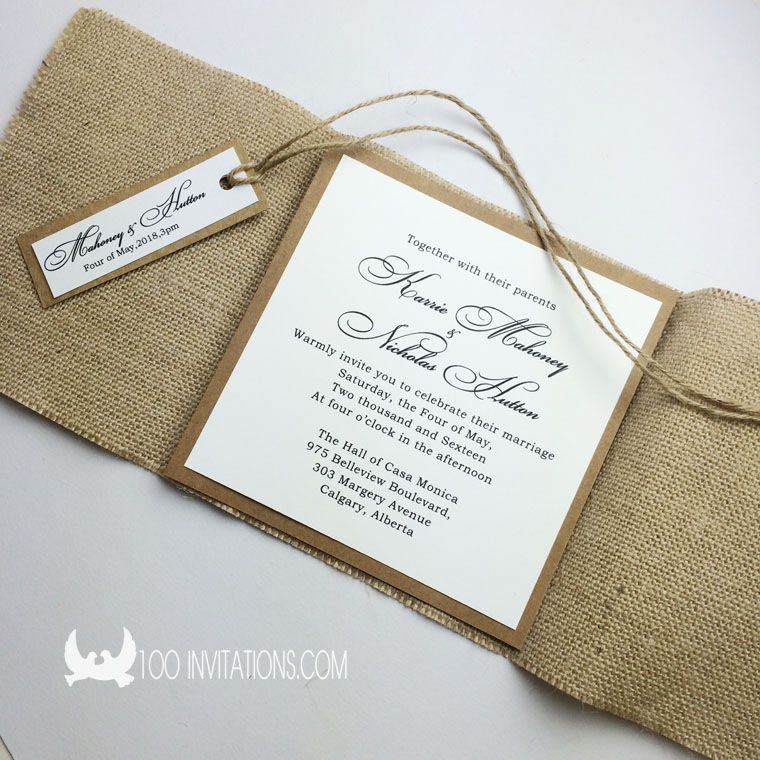 sackcloth wedding invitations perfect for farm wedding theme, Wedding invitations