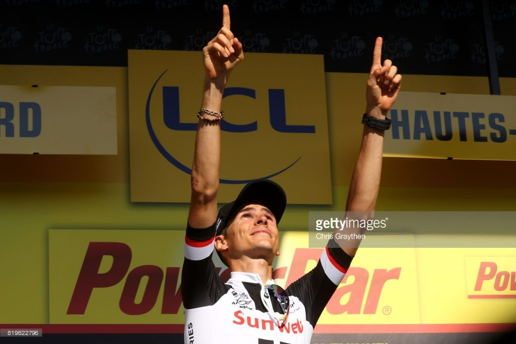 #TDF2017 Warren Barguil of France riding for Team Sunweb in poses for a photo on the podium after winning stage 18 of the 2017 Le Tour de France, a 179.5km stage from Briançon to Izoard on July 20, 2017 in Briancon, France.